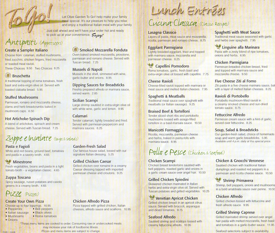 photograph relating to Olive Garden Printable Menu called Olive Backyard Lunch Menu with Price ranges Gardening: Flower and