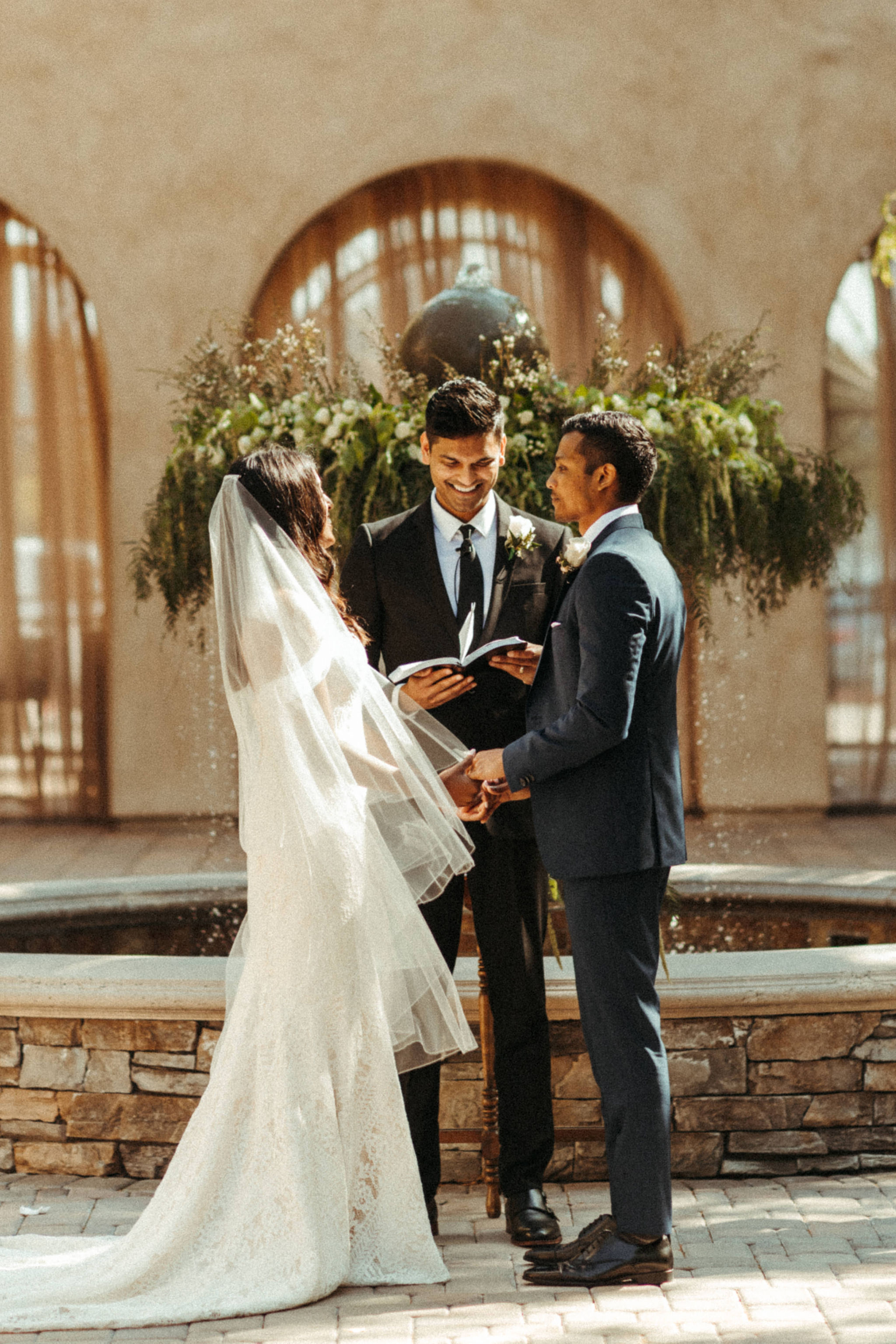 romantic neutral wedding colors at San Juan Capistrano spanish styled wedding venue