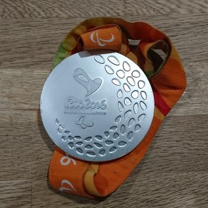 A silver medal from the 2016 Rio Paralympics