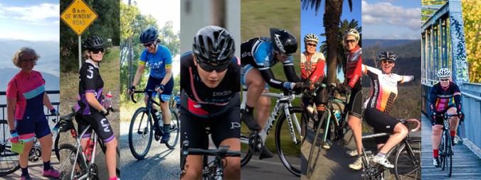 Montage of various women on bikes