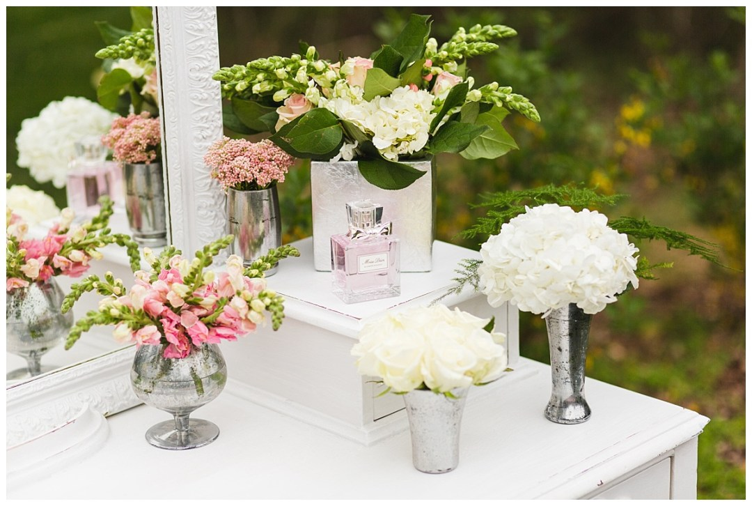 dior vanity hydrangeas and roses