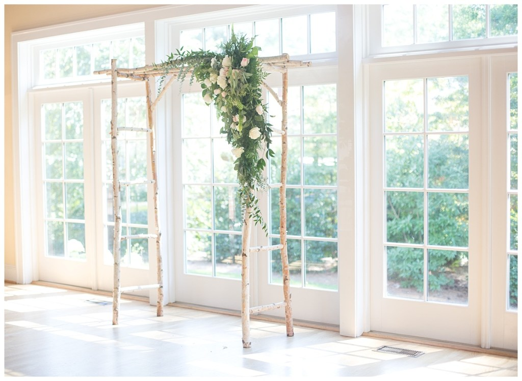 birch and floral arbor