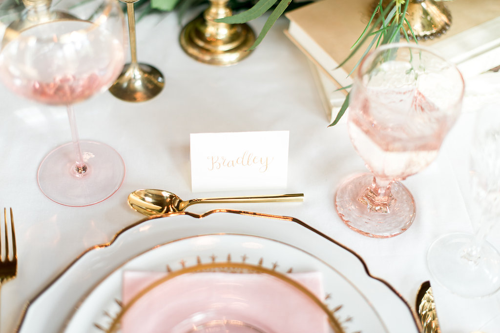 pink-gold-place-setting-calligraphy-place-card