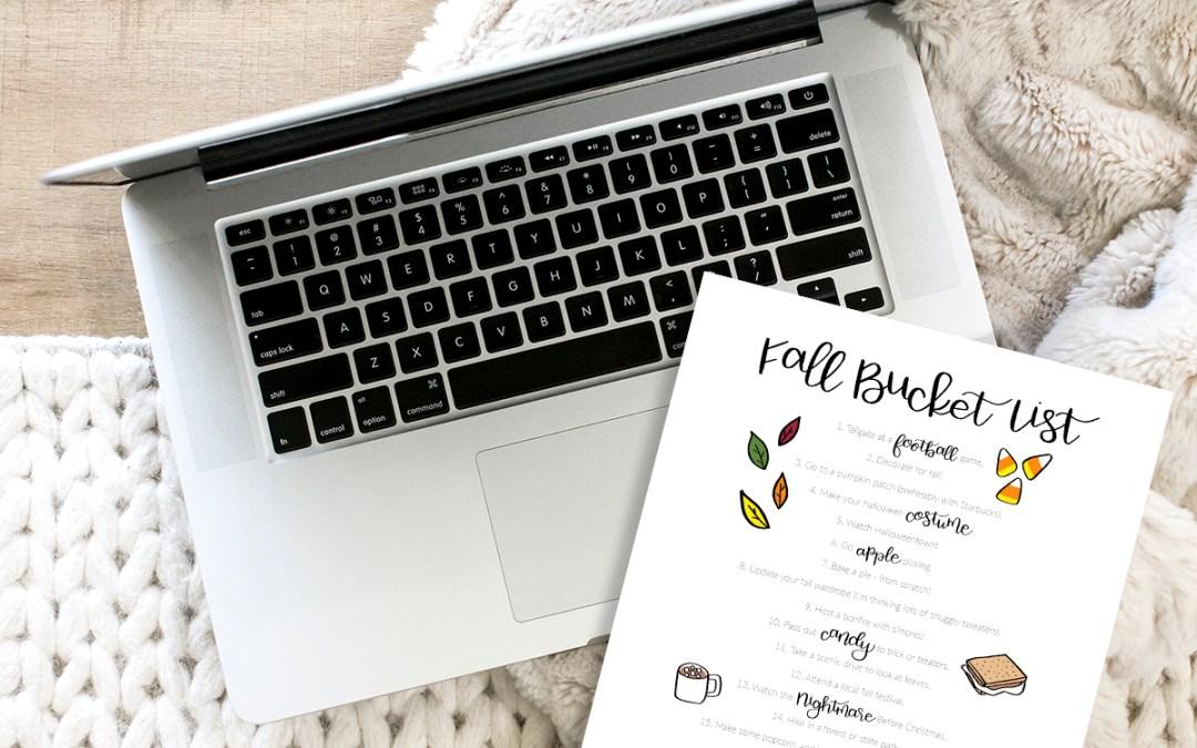 Free Printable Download – Fall Bucket List