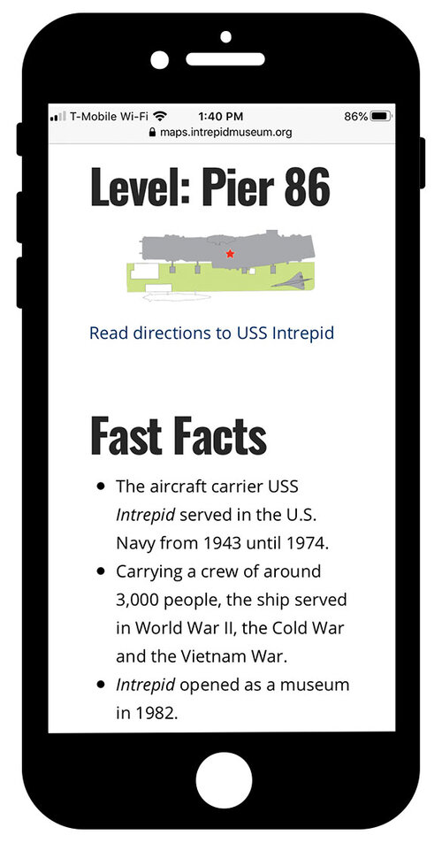 """Mobile guide on the iPhone with a heading 2 that reads """"Level: Pier 86"""", a photo of a map with a link that goes to a longer image description, and a heading 2 that reads """"Fast Facts"""" with 3 bulleted facts beneath"""