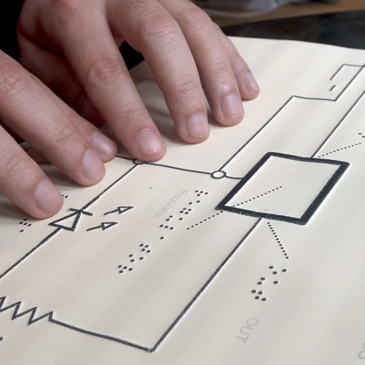 Close up of hands exploring a tactile schematic.