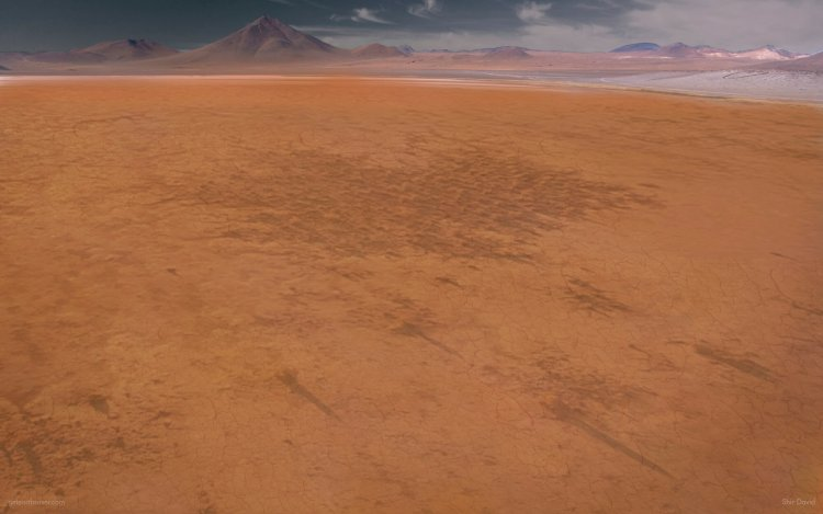 An arid plain and has no animal life to be found