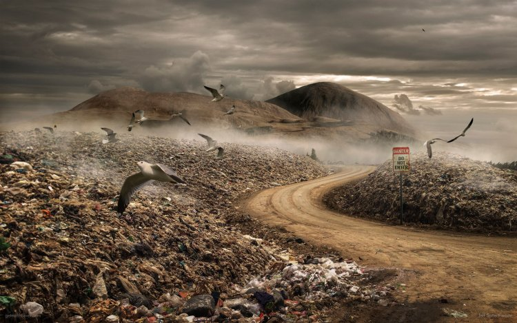 A lake bed has been converted to a landfill with seagulls flying overhead.