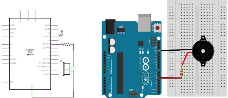 Side-by-side comparison of a Fritzing schematic and a board drawing of a piezo, resistor in series. The board drawing on left depicts a circuit arranged funtionally with symbols. The board drawing on the right shows a more realistic interpretation using CAD to show literally how the circuit is hooked up between the Arduino and breadboard, spatially.