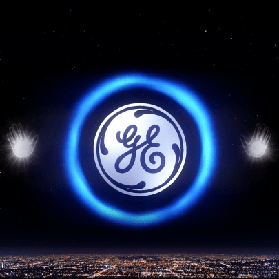 GE logo surrounded by a blue holographic halo