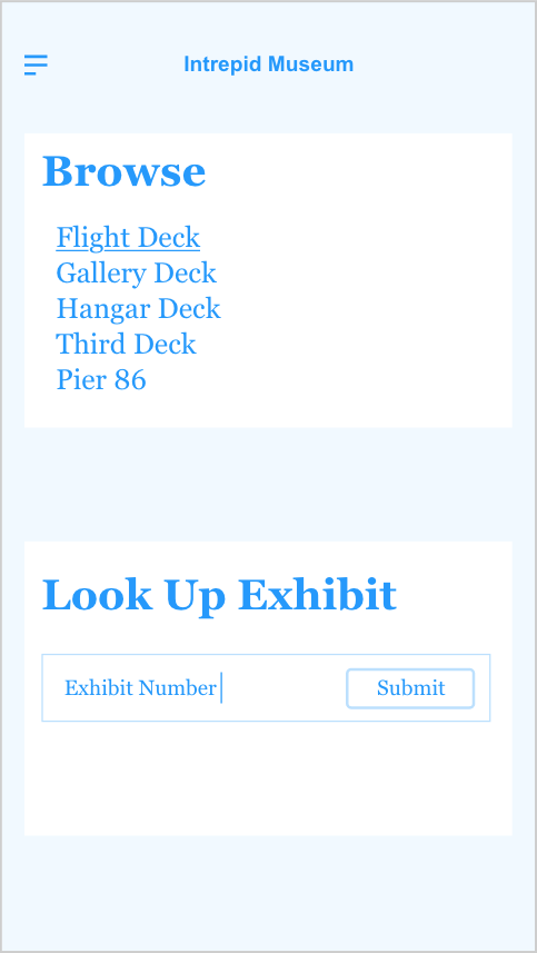 A wireframe of the mobile guide that has two heading level 2's that read Browse and Look Up Exhibit