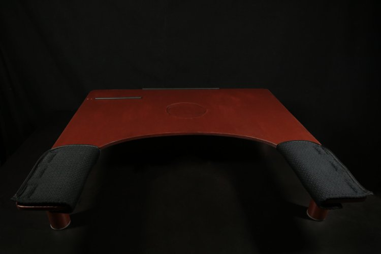 Back view of the assistive workstation, showing detail of elbow padding