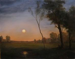 Le Lever De La Lune 16 x 20 in. oil on panel