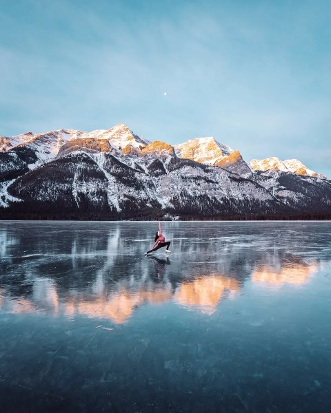 sunrise ice skating on Goat Pond Spray Valley, Alberta - Lauren's Lighthouse