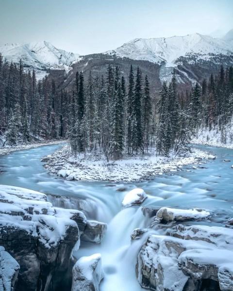 Sunwapta Falls, Jasper blue hour long exposure shot