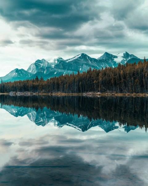 Herbert Lake, Alberta moody reflection