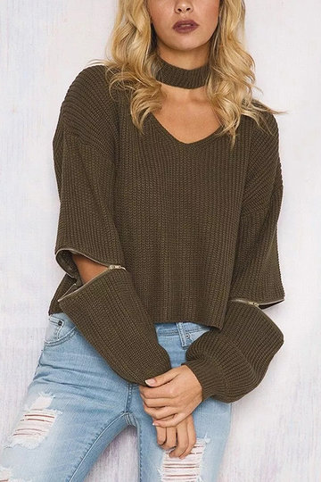 Yoins olive green sweater with gold zipper details