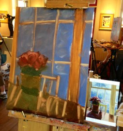 Step two of day one's painting -- adding in dark colors, defining shapes.