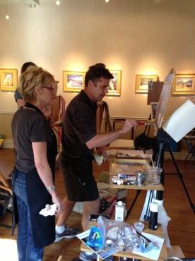Colley critiquing Karen's painting