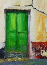 Green Door; 6x8 oil on canvas