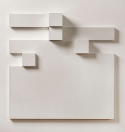 Peter Lowe, Relief H 16, c. 1972, wood painted white, 54 x 54 cm