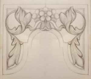 Westminster Abbey choir school pipe organ carvings by Laurent Robert woodcarver,  tower pipe shades drawing