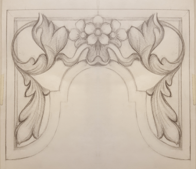 Westminster Abbey choir school pipe organ carvings by Laurent Robert woodcarver,  tower pipe shades drawing