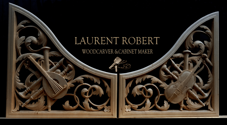 two carved trophy panels with Laurent Robert woodcarver and cabinet maker written as text