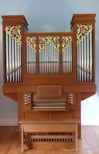 Dartington, Devon, pipe organ carving by Laurent Robert woodcarver