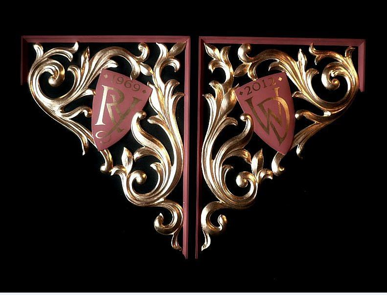 carved and gilded pipe shades  in lime wood in heraldic style by Laurent Robert Woodcarver