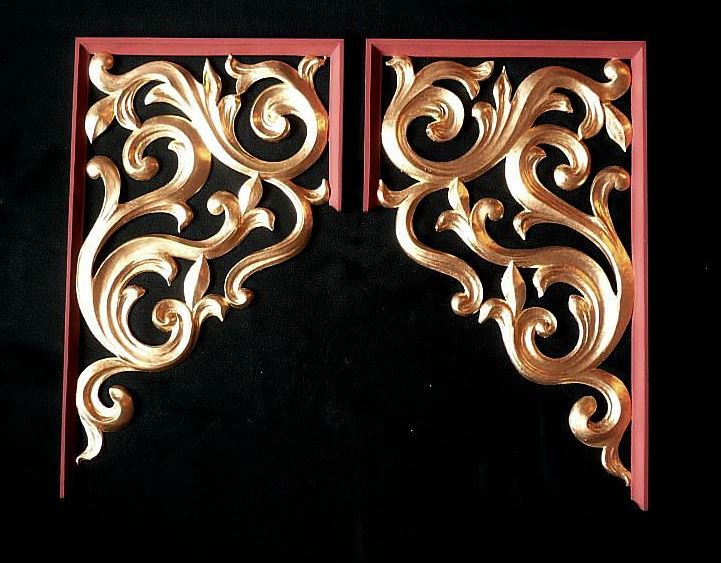 flat, carved and gilded pipe shades  in lime wood in heraldic style by Laurent Robert Woodcarver