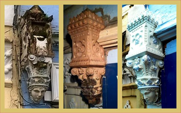 Dartmouth, The Quay, shop front restoration, dammaged corbel, repaired carved corbel , Laurent Robert woodcarving