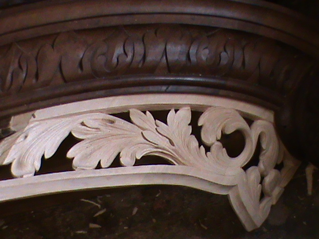 Richard Bridge pipe organ 1735, restoration carvings, serpentine pipe shade carved new, Laurent Robert woodcarving