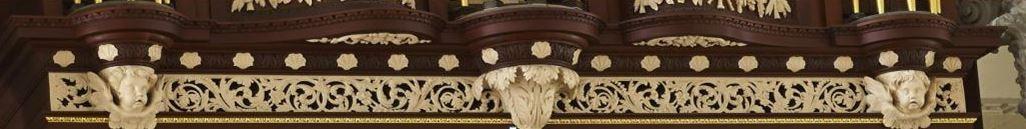 Richard Bridge pipe organ 1735, restoration carvings, frieze work after repairs, Laurent Robert woodcarving