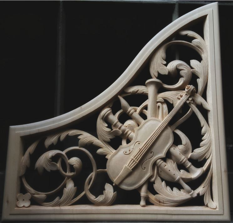 lime wood pipe organ carving with trophy panel violin by Laurent Robert Woodcarver