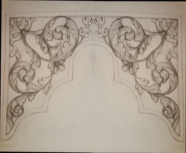 Westminster Abbey choir school pipe organ carvings by Laurent Robert woodcarver, drawing of middle tower