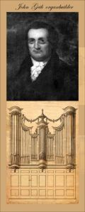 John Geib portrait together with one drawing of a pipe organ