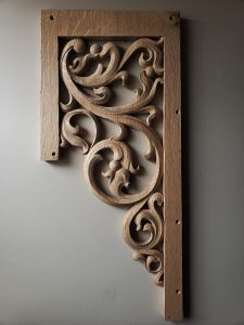 pipe shade carved in oak by Laurent Robert Woodcarver,1