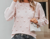 SHEIN - Simple Solid Puff Sleeve Pompom Detail Jumper - 03190709717