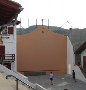 A village 'fronton' with 'pelote basque' players