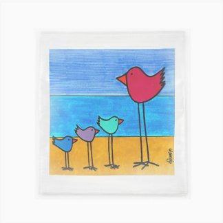 Flour Sack Towel - Multi-Birds on the Beach