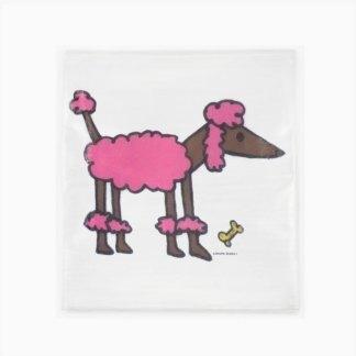 Flour Sack Towel - Pink Poodle