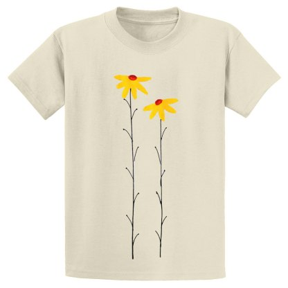 UniSex-SS-Tee-natural-daisies-yellow