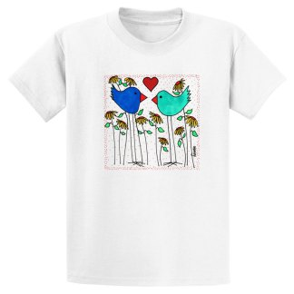 UniSex-SS-Tee-white-love-birds-flowers