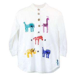 LFH-Fleece Henley-white-multi-zoo