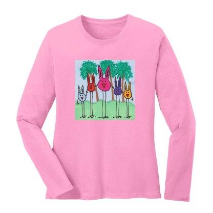 LS-Tee-pink-bird-bunny-family