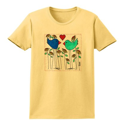 SS-Tee-yellow-love-birds-flowers