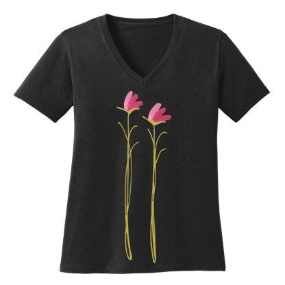 V-Neck-Tee-black-pink-floral