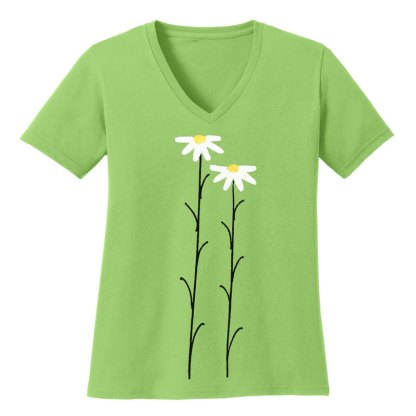 V-Neck-Tee-lime-daisiesW