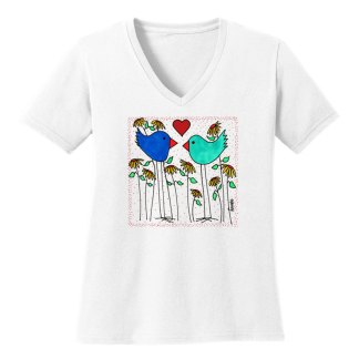 V-Neck-Tee-white-love-birds-flowers